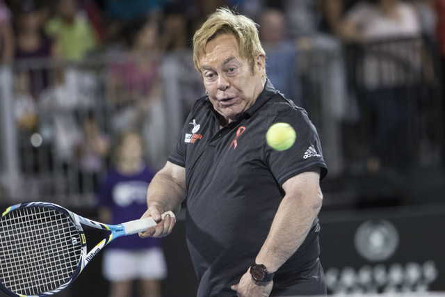 Sir Elton John plays during the WTT Smash Hits charity tennis event at Caesars Palace in Las Vegas on October 10, 2016. Richard Brian/Las Vegas Review-Journal Follow @vegasphotograph