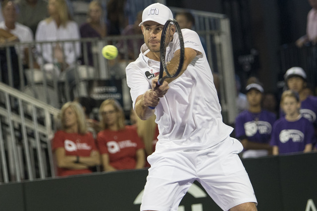 Andy Roddick returns a ball as he plays during the WTT Smash Hits charity tennis event at Caesars Palace in Las Vegas on October, 10, 2016. Richard Brian/Las Vegas Review-Journal Follow @vegasphot ...