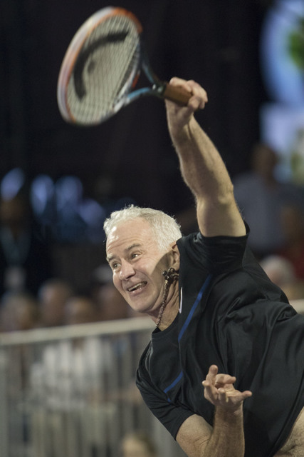 John McEnroe returns a ball as he plays during the WTT Smash Hits charity tennis event at Caesars Palace in Las Vegas on October, 10, 2016. Richard Brian/Las Vegas Review-Journal Follow @vegasphot ...