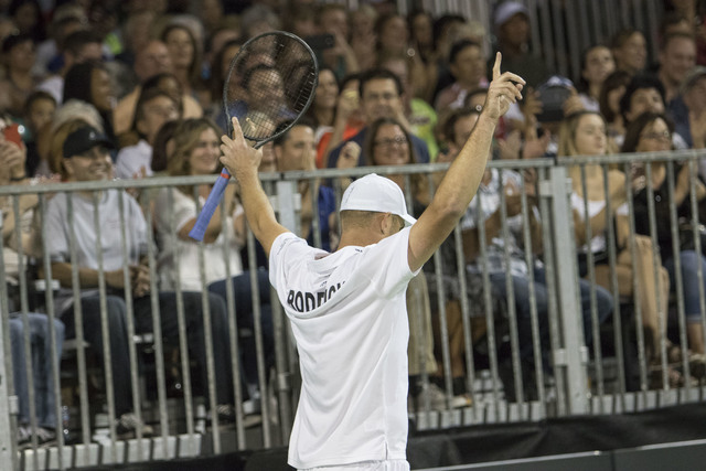 Andy Roddick reacts to a call as he plays during the WTT Smash Hits charity tennis event at Caesars Palace in Las Vegas on October, 10, 2016. Richard Brian/Las Vegas Review-Journal Follow @vegasph ...