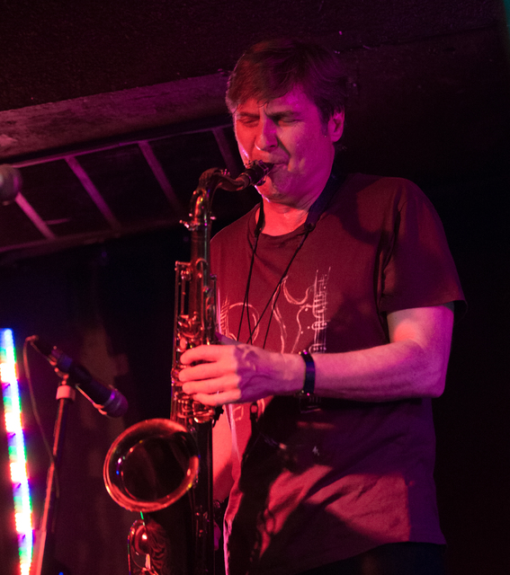 Sax great Tim Ries of the Rolling Stones' backing band performs at the Sand Dollar Lounge on Wednesday night. (Photo Erik Kabik/Retna)