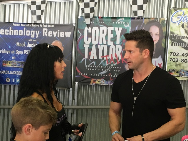 "Jennifer Romas of ""Sexxy"" at Westgate Las Vegas and Jeff Timmons of 98 Degrees are shown at Gene Woods Racing Experience during the Mike Hammer Celebrity Go-Kart Race to benefit #ServingHopeLV. (J ..."