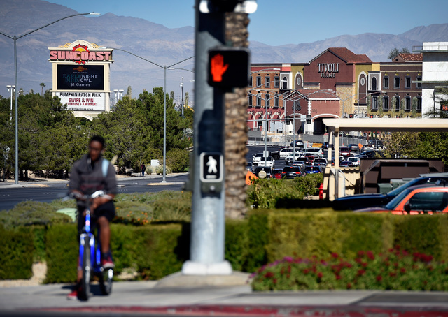 Tivoli Village is seen along Rampart Boulevard across the street from the Suncoast hotel and casino, Friday, Oct. 21, 2016, in Las Vegas. An additional 350,000 square-foot of retail and office spa ...