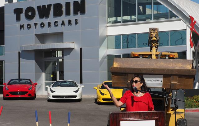 Carolynn Towbin, co-owner of Towbin Motorcars, talks about her new Ferrari/Masarati dealership on Sahara Avenue in Las Vegas, Tuesday, Oct. 18, 2016.  (Jerry Henkel/Las Vegas Review-Journal)