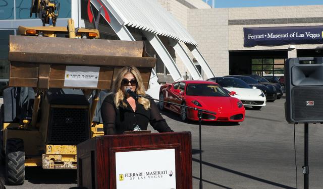 Jesika Towbin-Mansour talks about her new Ferrari/Masarati dealership on Sahara Avenue in Las Vegas, Tuesday, Oct. 18, 2016. (Jerry Henkel/Las Vegas Review-Journal)