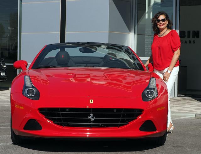 Carolynn Towbin poses with a 2016 Ferrari California T at the new Towbin Ferrari/Masarati dealership on Sahara Avenue in Las Vegas, Tuesday, Oct. 18, 2016. (Jerry Henkel/Las Vegas Review-Journal)