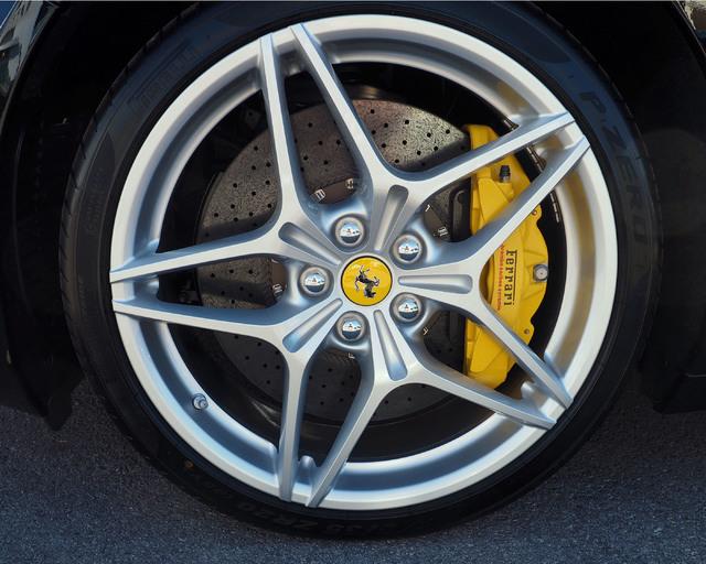 The wheel and disc brake of a Ferrari is seen at the new Towbin Ferrari/Masarati dealership on Sahara Avenue in Las Vegas, Tuesday, Oct. 18, 2016. (Jerry Henkel/Las Vegas Review-Journal)