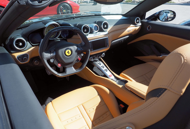 The interior of a Ferrari is seen at the new Towbin Ferrari/Masarati dealership on Sahara Avenue in Las Vegas, Tuesday, Oct. 18, 2016. (Jerry Henkel/Las Vegas Review-Journal)