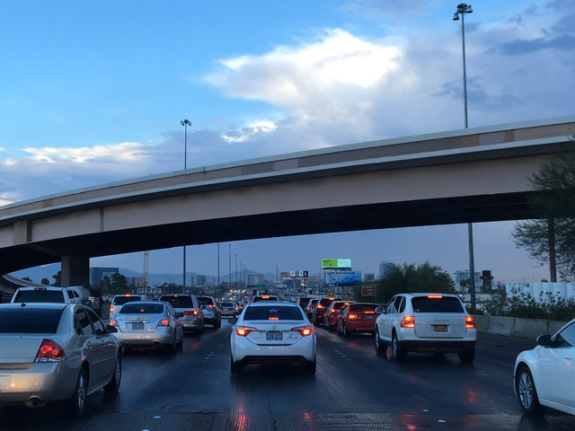 A crash on northbound Interstate 15 near Charleston Boulevard has traffic backed up Monday morning, Oct. 24, 2016. (Bizuayehu Tesfaye/Las Vegas Review-Journal Follow @bizutesfaye)