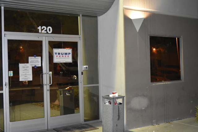 Donald Trump campaign staffers arrived at their Las Vegas office, 1110 Palms Airport Drive, early Sunday morning, Oct. 30, 2016 to discover that vandals had egged their office. (Trump campaign photo)