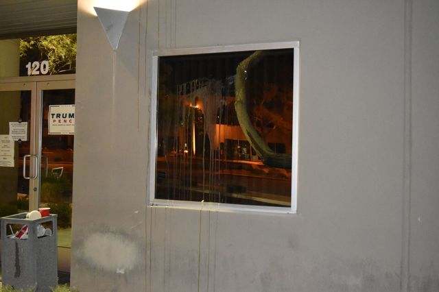 Donald Trump campaign staffers arrived at their Las Vegas office, 1110 Palms Airport Drive, early Sunday morning, Oct. 30, 2016, to discover that vandals had egged their office. (Trump campaign photo)