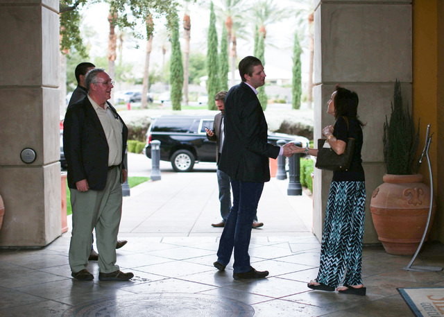 Eric Trump, center, meets a voter at Siena Golf Club after a presidential campaign rally in support of his father in Las Vegas on Friday, Oct. 28, 2016. Brett Le Blanc/Las Vegas Review-Journal Fol ...