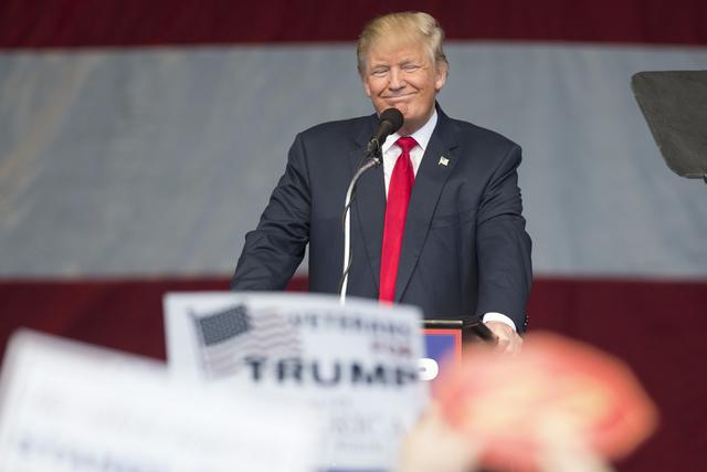 Republican presidential nominee Donald Trump speaks during a campaign rally at the Henderson Pavilion on Wednesday, Oct. 5, 2016. (Erik Verduzco/Las Vegas Review-Journal Follow @Erik_Verduzco)