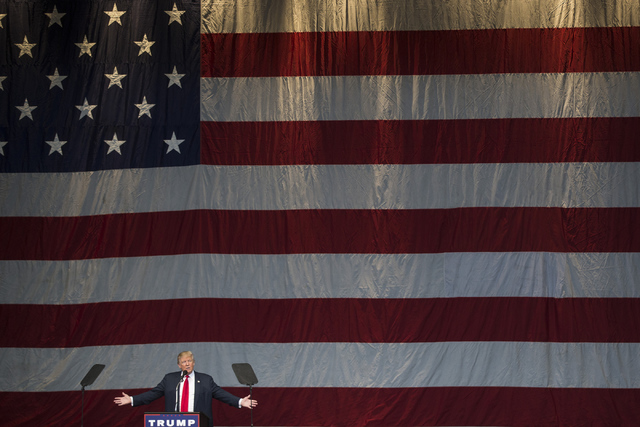 Republican presidential nominee Donald Trump speaks during a campaign rally at the Henderson Pavilion on Wednesday, Oct. 5, 2016, in Henderson, Nev. Erik Verduzco/Las Vegas Review-Journal Follow @ ...