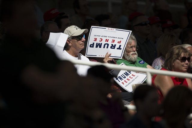 Supporters attend a campaign rally for Republican presidential nominee Donald Trump at the Henderson Pavilion on Wednesday, Oct. 5, 2016, in Henderson, Nev. Erik Verduzco/Las Vegas Review-Journal  ...