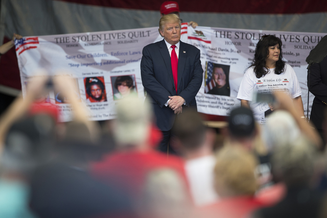 Republican presidential nominee Donald Trump stands on stage during a campaign rally at the Henderson Pavilion on Wednesday, Oct. 5, 2016, in Henderson, Nev. Erik Verduzco/Las Vegas Review-Journal ...