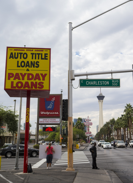 A sign for Nevada Title Loans is shown off Las Vegas and Charleston boulevards in downtown Las Vegas on Friday, Oct. 28, 2016. Chase Stevens/Las Vegas Review-Journal Follow @csstevensphoto