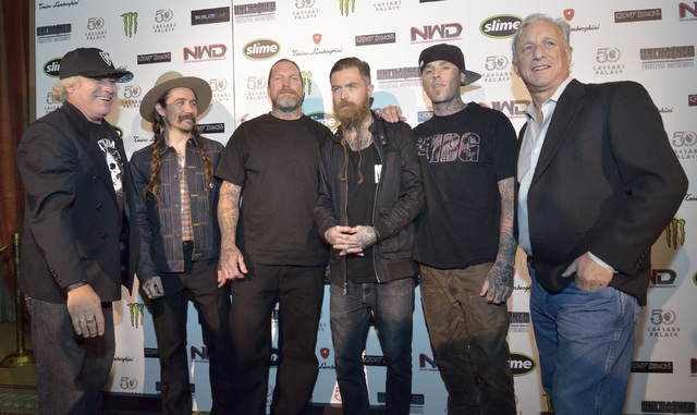 Producer and director Jon Freeman, from left, motorcyclists Drake McElroy, Seth Enslow, Beau Manley, Colin Morrison and co-producer Marc Levine are shown during a red carpet event for the premier  ...