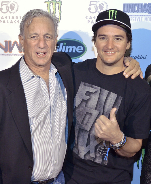 "Co-producer Marc Levine, left, and motocross rider Blake ""Bilko"" Williams are shown during a red carpet event for the premier of ""Unchained: The Untold Story of Freestyle Moto ..."