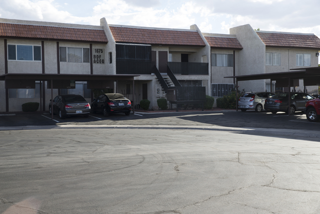 The apartment complex where Pastor Andres Charry-Arana lived and was attacked by Walter Laak, a former Marine with severe post-traumatic stress disorder, is seen on Thursday, Sept. 29, 2016, in La ...