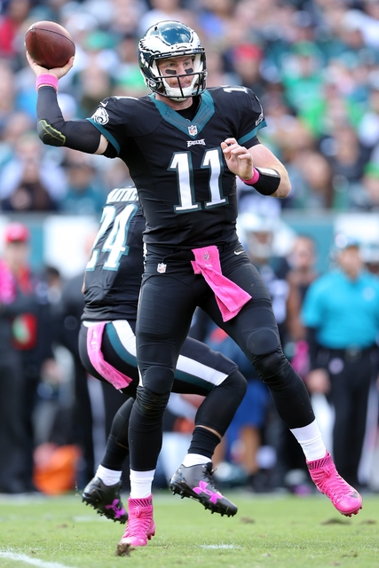 Philadelphia Eagles quarterback Carson Wentz (11) in action against the Minnesota Vikings during an NFL game at Lincoln Financial Field in Philadelphia on Sunday, Oct. 23, 2016. (AP Photo/Brad Penner)