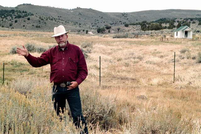 Rancher Wayne Hage Sr. is shown in this November 1997 file photo, taken near the spot where federal agents seized 100 head of his cattle in 1991, in Meadow Canyon near Tonopah, Nev. (Associated Pr ...