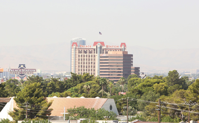 Palace Station is seen under hazy skies on Monday, June 27, 2016. The Clark County Department of Air Quality issued an air advisory through Monday night. (Bizuayehu Tesfaye/Las Vegas Review-Journa ...
