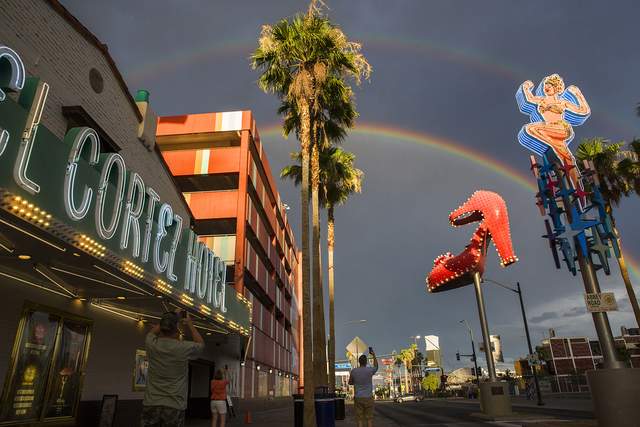 A double rainbow is shown from outside of the El Cortez hotel-casino in downtown Las Vegas on Tuesday, June 28, 2016. (Benjamin Hager/Las Vegas Review-Journal)
