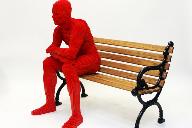 """Nathan Sawaya's """"Park People"""" Lego art installation opens Friday at The Park between New York-New York and Monte Carlo. (Courtesy)"""