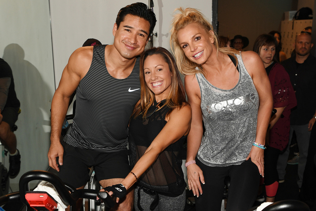 Mario Lopez, Jen Barnet and Britney Spears at XCYCLE studio. (Denise Truscello)