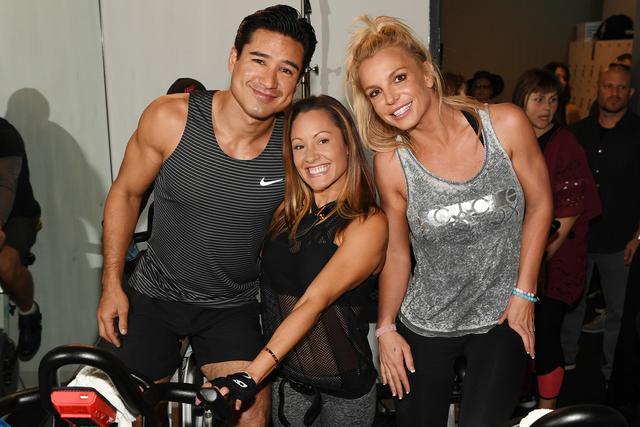 Mario Lopez, Jen Barnet and Britney Spears at XCYCLE studio. (Denise Truscello)