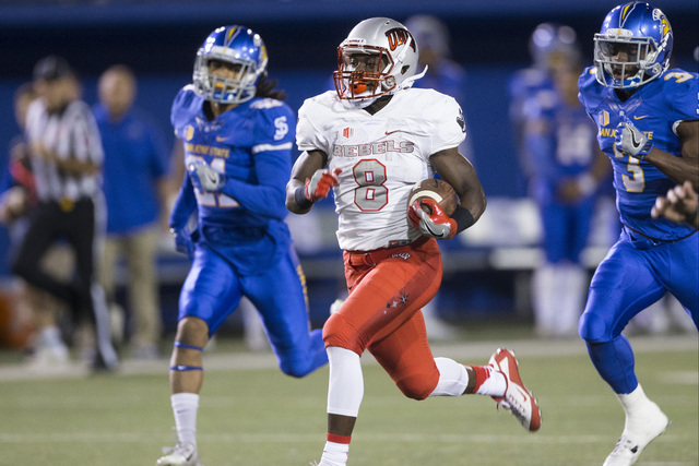 UNLV Rebels running back Charles Williams (8) runs the ball for a touchdown against the San Jose State Spartans at CEFCU Stadium on Saturday, Oct. 29, 2016, in San Jose. Erik Verduzco/Las Vegas Re ...