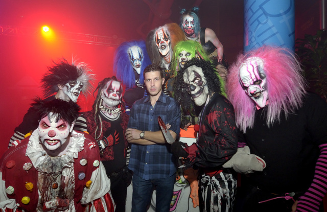 Jason Egan, owner of Fright omw, center, is shown with some of the clowns at the haunted house in the Adventuredome at the Circus Circus hotel-casino on Sunday Oct. 16, 2016. (Bill Hughes/Las Vega ...