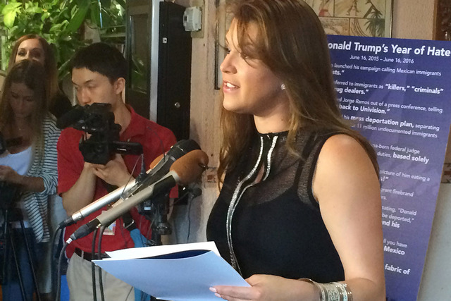 In this June 15, 2016, file photo, former Miss Universe Alicia Machado speaks during a news conference at a Latino restaurant in Arlington, Va., to criticize Republican presidential candidate Dona ...