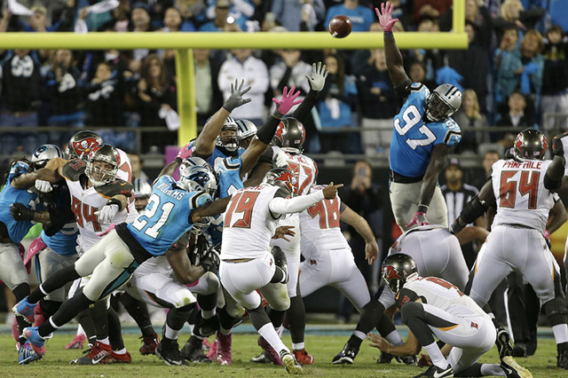 Tampa Bay Buccaneers' Roberto Aguayo (19) kicks the game-winning field goal against the Carolina Panthers in the final seconds of the second half of an NFL football game in Charlotte, N.C., Monday ...