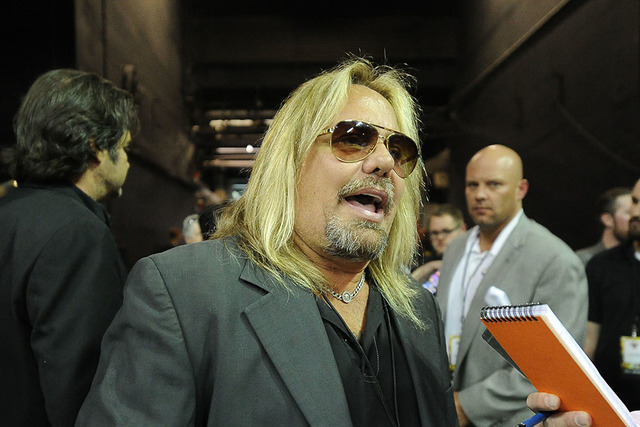 Vince Neil is seen before the start of a Las Vegas Outlaws arena football game at the Thomas & Mack Center in Las Vegas on May 4, 2015. (Josh Holmberg/Las Vegas Review-Journal)