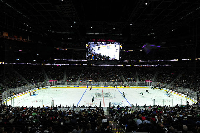 T-Mobile Arena is seen during a hockey game between the Dallas Stars and the Los Angeles Kings in the third period of their NHL preseason hockey game  at T-Mobile Arena  in Las Vegas Friday, Oct.  ...
