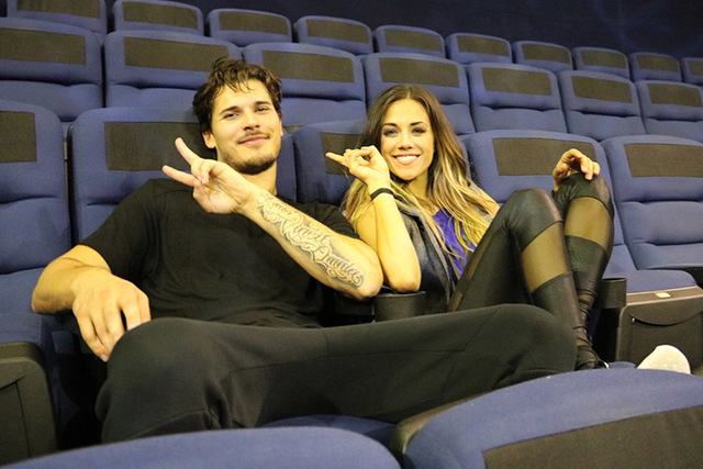"Gleb Savchenko and Jana Kramer are shown in the Love Theater at the Mirage during a break in rehearsals for their upcoming appearance on ""Dancing With the Stars."" (Courtesy)"
