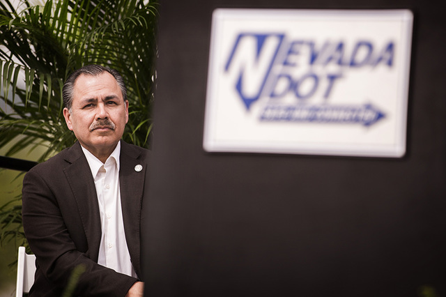 Nevada Director of Transportation director Rudy Malfabon sits during ground breaking for Project Neon on Thursday, April 7, 2016. (Jeff Scheid/Las Vegas Review-Journal) Follow @jlscheid