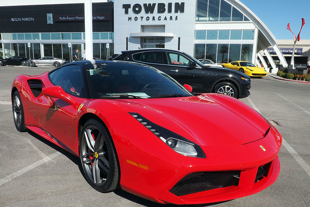 A Ferrari 488 GTB Coupe, front, and a Masarati Levante are seen at the new Towbin Ferrari/Masarati dealership on Sahara Avenue in Las Vegas, Tuesday, Oct. 18, 2016. (Jerry Henkel/Las Vegas Review- ...