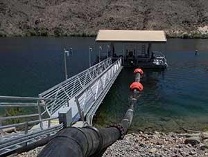 The new, floating water intake system will deliver the cold river water needed to raise rainbow trout at the Willow Beach National Fish Hatchery about 12 miles below Hoover Dam. (U.S. Fish & w ...