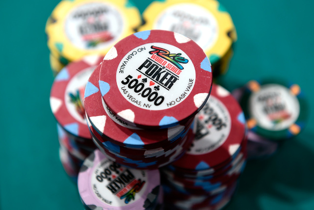 Stacks of chips are ready for play at the final table of the Main Event at the World Series of Poker at the Rio hotel-casino, Sunday, Oct. 30, 2016, in Las Vegas. David Becker/Las Vegas Review-Jou ...