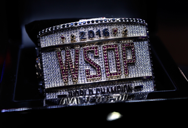 The championship bracelet is displayed at the final table of the Main Event at the World Series of Poker at the Rio hotel-casino, Sunday, Oct. 30, 2016, in Las Vegas. David Becker/Las Vegas Review ...