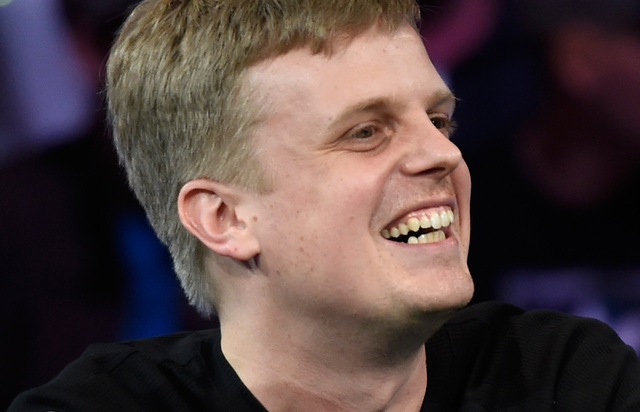 Gordon Vayo of San Francisco smiles during the final table of the Main Event at the World Series of Poker at the Rio hotel-casino Sunday, Oct. 30, 2016, in Las Vegas. David Becker/Las Vegas Review ...