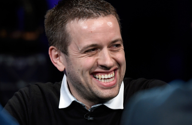 Kenny Hallaert of Belgium smiles during the final table of the Main Event at the World Series of Poker at the Rio hotel-casino, Sunday, Oct. 30, 2016, in Las Vegas. David Becker/Las Vegas Review-J ...