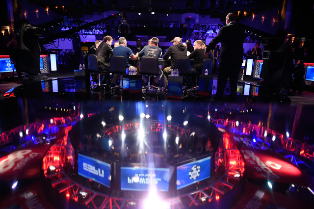 The final nine players during the final table of the Main Event at the World Series of Poker at the Rio hotel-casino, Sunday, Oct. 30, 2016, in Las Vegas. David Becker/Las Vegas Review-Journal Fol ...