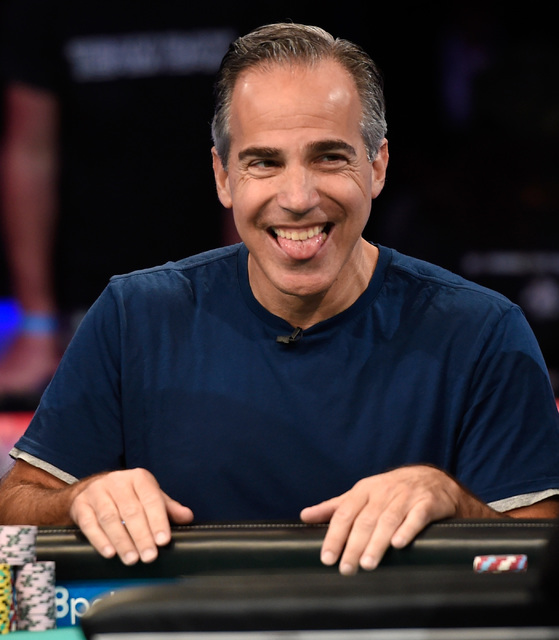 Cliff Josephy of N.Y. reacts during the final table of the Main Event at the World Series of Poker at the Rio hotel-casino, Sunday, Oct. 30, 2016, in Las Vegas. David Becker/Las Vegas Review-Journ ...