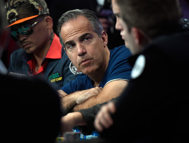 Cliff Josephy of N.Y. keeps his eyes on an opponent during the final table of the Main Event at the World Series of Poker at the Rio hotel-casino, Sunday, Oct. 30, 2016, in Las Vegas. David Becker ...