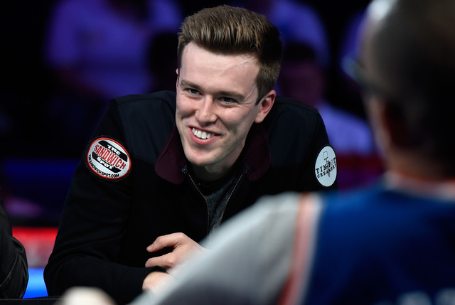 Gordon Vayo of San Francisco smiles during the final table of the Main Event at the World Series of Poker at the Rio hotel-casino, Sunday, Oct. 30, 2016, in Las Vegas. David Becker/Las Vegas Revie ...