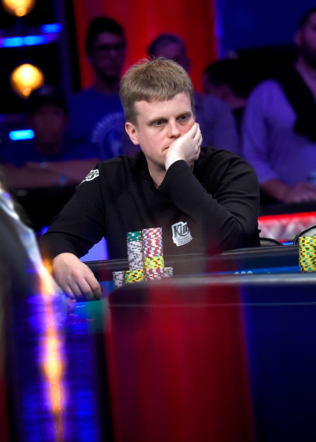 Vojtech Ruzicka of the Czech Republic ponders his bet during the final table of the Main Event at the World Series of Poker at the Rio hotel-casino, Sunday, Oct. 30, 2016, in Las Vegas. David Beck ...